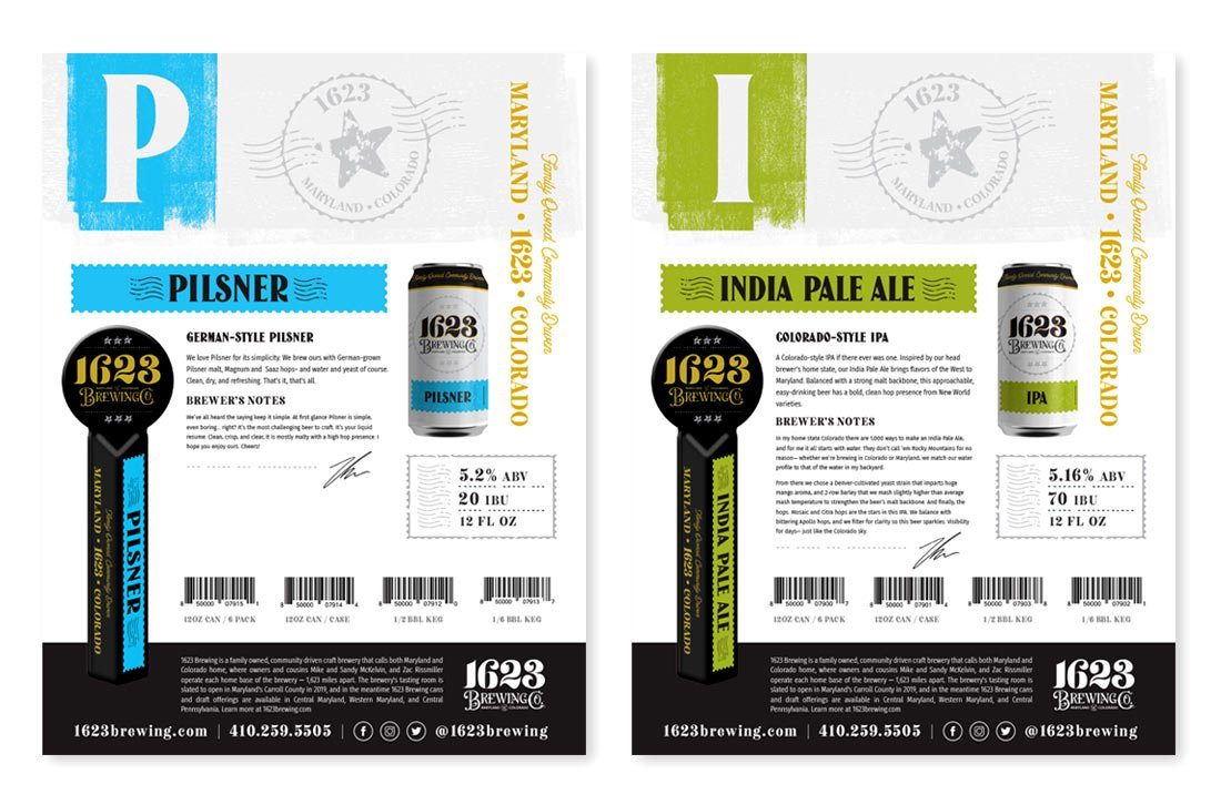 1623 Brewing Co Sales Sheets