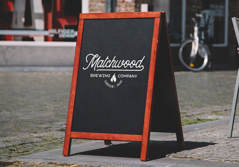 Matchwood Brewing Company chalkboard sign