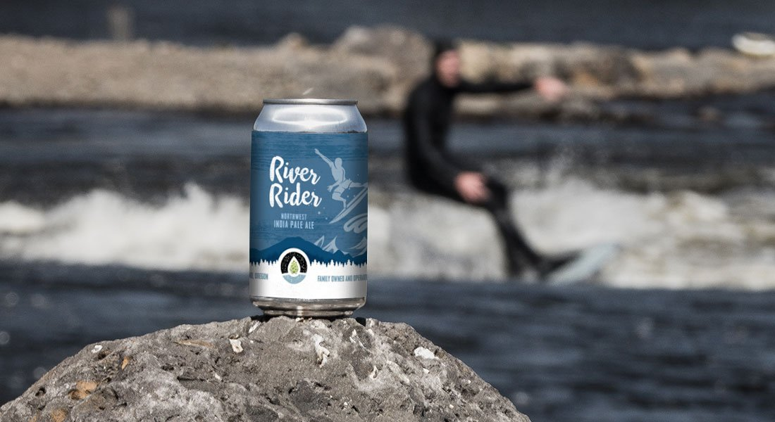 River Rider Can with Surfer in Background